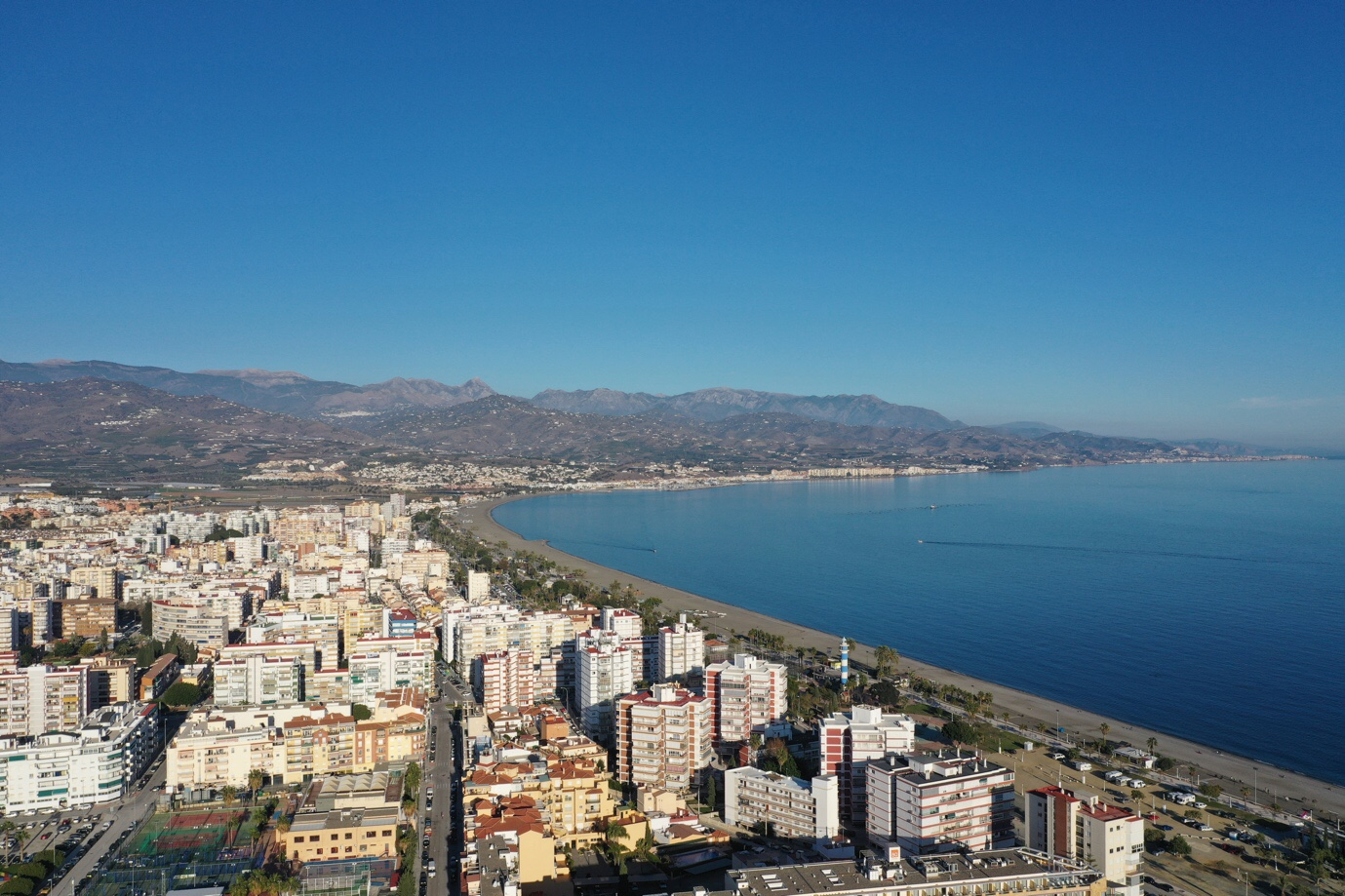 Drone aerial photography shows the scale of Torre Del Mar